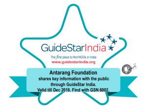 Antarang receives NGO Transparency Badge from Guidestar India
